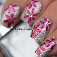 Nail WRAPS Nail Art Crystal Pink Rose Flowers for Natural or False Nails YD026