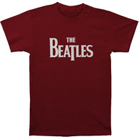 Beatles Men's  Logo T-shirt Maroon Rockabilia