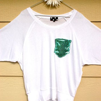 "Batwing Tee - ""Dazzle Pocket"" - Long Sleeve T-shirt -  w/Mint Sequin Chest Pocket"