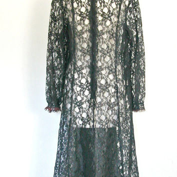 1960s Lace Dress / 60s dress / cocktail dress / overlay dress / black party dress / reception dress / tea length  / large XL