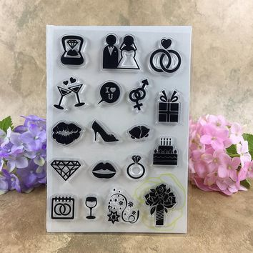 Wedding Wed Cake Wed Celebrate Flower For Scrapbook DIY photo cards account rubber stamp clear stamp transparent stamp  11*16CM