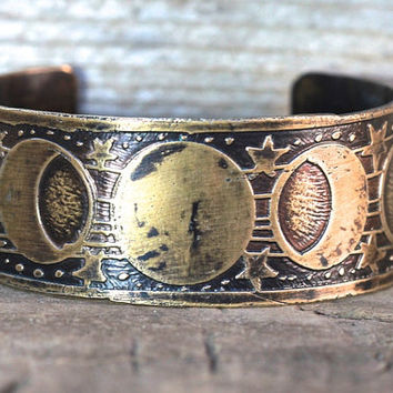 Etched Brass Cuff Bracelet Etched Cuff Bracelet Brass Cuff Moon Phase Jewelry Lunar Jewelry Galaxy Jewelry Celestial Jewelry Moonphase