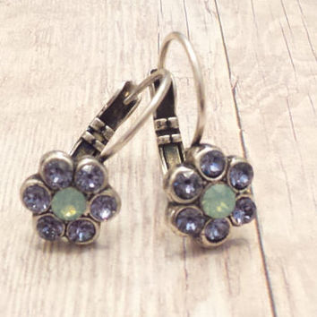 SWAROVSKI EARRINGS, flower, crystal, lavender, pacific opal, lever backs, dangles, drops, small, petite, dksjewelrydesigns