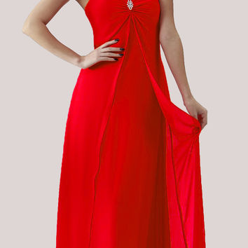 Red Semi Formal Dress Long Chiffon Overlay Wide Straps
