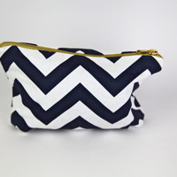 chevron makeup bag, chevron navy and silver case, blue and white chevron clutch, chevron travel case, chevron pack