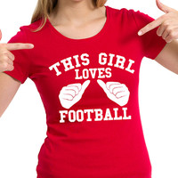 This Girl Loves Football Fan Tailgate Shirt T-Shirt Funny Vintage swag womens ladies TShirt T-Shirt T Shirt Tee - DT-629