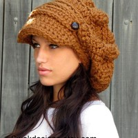 Slouchy Hat  Crochet Newsboy Hat  Two Button Band  by swakdesigns