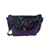Colorful Music Notes On Black Purple Messenger Bag