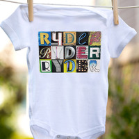 Personalized baby bodysuit featuring the name RYDER showcased in photos of letters from actual signs; Baby Onesuit; Baby gift; Baby Onesuit