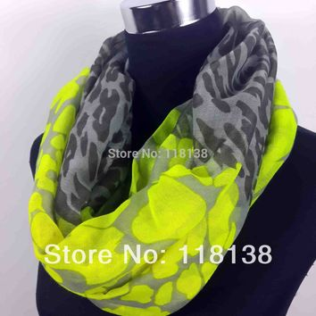 Neon Color Leopard Print Infinity Scarf Snood Women's Party Event Accessories Gift for Her, Free Shipping
