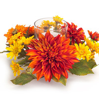 Falling Leaves Collection Mum/Daisy Centerpiece Candle Holder