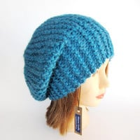 Beret hat Slouchy beanie hat petrol blue slouch hat chunky knit hat Irish knit accessory for women warm winter hat fashion accessory tam
