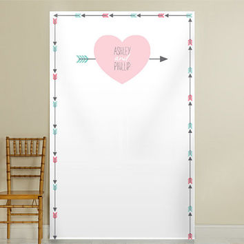 Personalized Heart and Arrow Photo Backdrop, Wedding Photo Booth, Photography Background, Ceremony Background