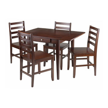 Hamilton 5 Piece Drop Leaf Dining Table with 4 Ladder Back Chairs