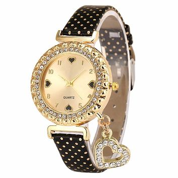 Xiniu Watch Women Love Heart Bracelet rhinestone wristwatch  ladies Strap Band Watch  mujer Relojes mujer#EL