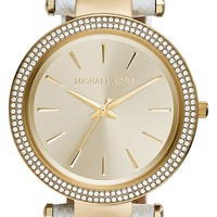 Women's Michael Kors 'Darci' Crystal Bezel Leather Strap Watch, 39mm