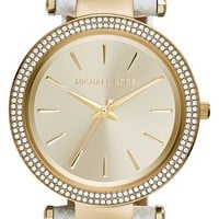 Women's Michael Kors 'Darci' Crystal Bezel Leather Strap Watch, 39mm - White/ Gold