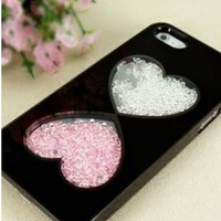Cute Hearts Design Dancing Diamond Case for iPhone 5