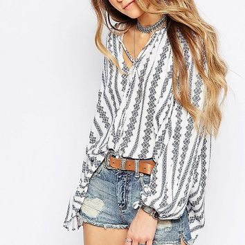 *online exclusive* vertical striped boho blouse