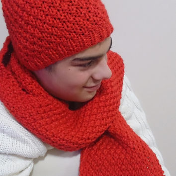unisex knit scarf beret set, pure handmade scarf, women accessories, Neckwarmer, knit hat for him, wool, fall winter halloween,