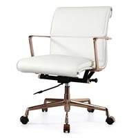 Office Chair In Rose Gold And White Italian Leather