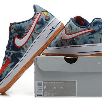 PEAPON Nike Air Force 1 Denim Blue For Women Men Running Sport Casual Shoes Sneakers