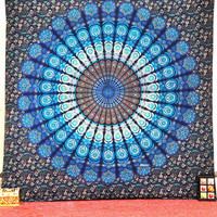 Blue Dorm Mandala Tapestry Tapestries Wall hanging, Throw wall Decor Art, Bohemian Bedcover, Picnic Blanket, Indian Wall Hanging Beach sheet