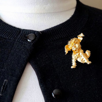 Vintage Dog Brooch, Yorkshire or Scottish Terrier Brooch, Gold Tone Brooch, Scatter Pin,Novelty Pin,Lapel Pin,Vintage Jewelry,Dog Lover Gift