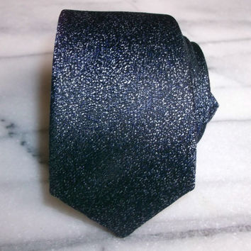 Silk Necktie/Tie-Men's Textured Midnight Blue Necktie