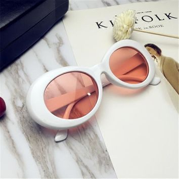 Newest Kurt Cobain Sunglasses Transparent Clear Lenses Glasses Vintage NIRVANA Oval Eyewear Fashion Classic Sun Glasses