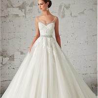 [198.99] Noble Organza Scoop Neckline Natural Waistline Wedding Dress with Beadings & Rhinestones - Dressilyme.com