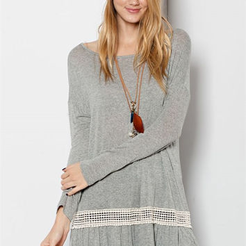 Double Ruffle Heathered Tunic - Light Grey