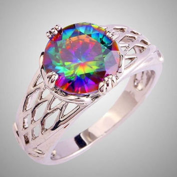 Rainbow Mystic Fire Topaz Silver Plated Friendship Promise Fashion Solitaire Ring