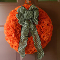 Halloween Wreath - Felt Wreath with Orange Rosettes and a Black and White Striped Bow - 12 inch