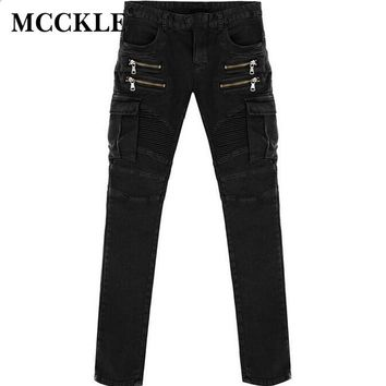 MCCKLE Green Black  Mens Denim Biker Cargo Jeans Brand Men Stretch Skinny Moto Pencil Jeans Runway Distressed Motorcycle Jean