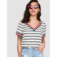 Rib Knit Striped Ringer T-shirt