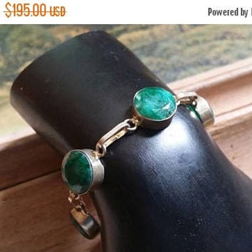 80%OFF SUMMER SALE emerald   Bracelet Gemstone .925 Sterling  Silver Memorial Day Sale