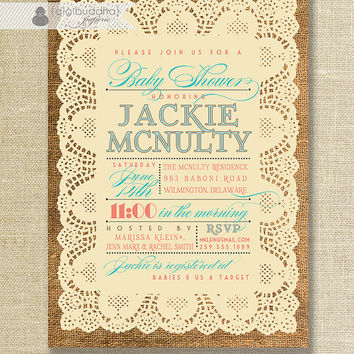 Lace Burlap Baby Shower Invitation Vintage Rustic Coral & Turquoise Baby Girl Baby Boy Gender Neutral Digital or Printed - Jackie Style