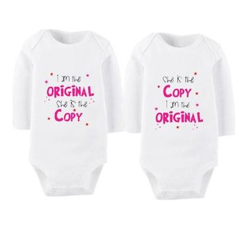 Long Sleeves Printed Cotton  Twins Baby Clothing Sets