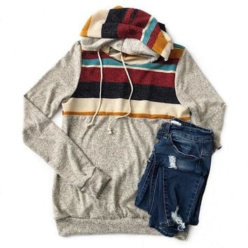 NEW! Heather Gray Hoodie with Fall Color Block