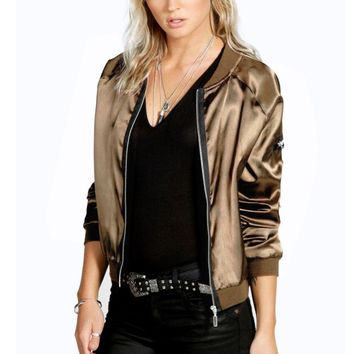 Womens Solid Coat Baseball Jacket with Zipper