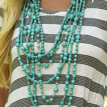 Beads On Beads Necklace: Turquoise