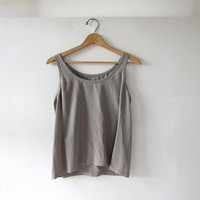 silk camisole / silk tank top / 90s gray silk top
