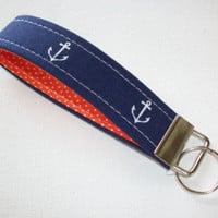 Key Fob - Wristlet - keyChain - key chain navy anchors orange pin pots