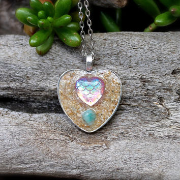 Mermaid Scale Necklace - Pink Heart Jewelry - Ocean Inspired Necklace made in Hawaii - Pink Mermaid Jewelry from Hawaii - Hawaiian Jewelry