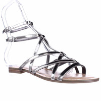 Guess Mannie Flat Gladiator Sandals - Silver