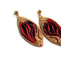 Red Shibori Ribbon silk Earrings with preziosa strass, swarovski pearls, miyuki gold beads,Italian leather, made in italy, orecchini серьги