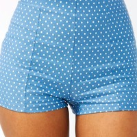 high-waisted-polka-dot-shorts BLUEWHITE - GoJane.com