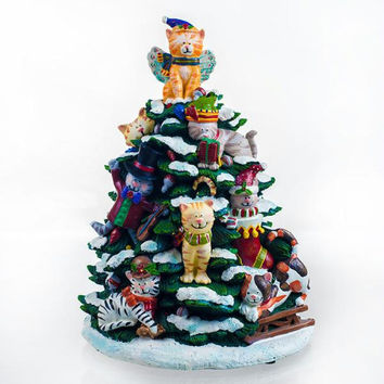 Holiday Cats Lighted Tree Figurine by San Francisco Music Box Factory