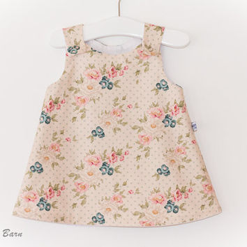 A-Line Pinafore Dress: Baby Girl, - Choose Fabric/Size, handmade, vintage style print